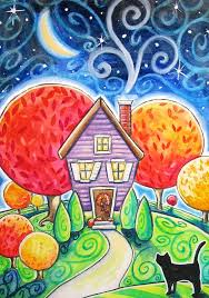 autumn house 5x7 print black cat moon stars fall landscape whimsy cozy