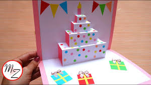 Diy Cake Pop Up Card For Birthday Easy 3d Cards Diy Maison Zizou