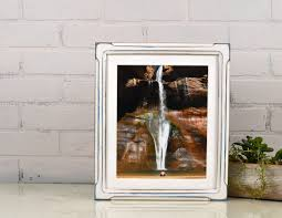 10x12 picture frame in shallow bones style with vintage blue under white finish in stock same day 10 x 12 inch wood frame