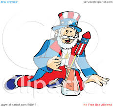 clipart ilration of uncle sam lighting and shooting off bottle rocket fireworks on the fourth of july by snowy