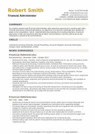 Administration Resume Templates Financial Administrator Resume Samples Qwikresume