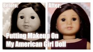 putting makeup on my american doll