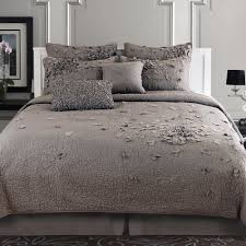 Bedroom. Gray Quilt Bedding Using Flower Ornament With Sham And ... & Source ... Adamdwight.com