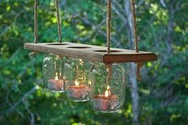outdoor candle chandelier mason jar and wood the fun of crafting via diy outdoor candle chandelier