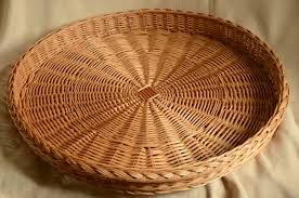 big 23 round wicker traylarge rustic ottoman wicker