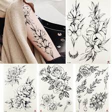 5245 руб 10 скидкачерный поддельный эскиз пион татуировки временные женщины боди