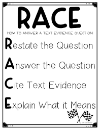 Using The Race Strategy For Text Evidence