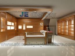 jewelry display interior design in wall cabinet with low glass showcase and wooden display counters