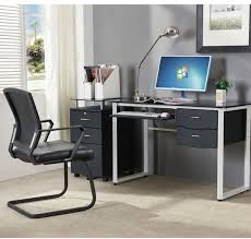 office study desk. Home Office Furniture Glass Computer Desk For Study With Keyboard And Drawer A