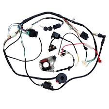 Amazon jcmoto full wiring harness loom kit cdi coil mag o kick start engine for 50cc 70cc 90cc 110cc 125cc atv quad bike buggy go kart pit dirt