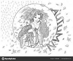Kleurplaat Voor Volwassenen Met Meisje Herfst Bladeren En Vogels
