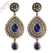 antique gold royal blue bridal chandelier earrings wedding jewelry bridal crystal earr