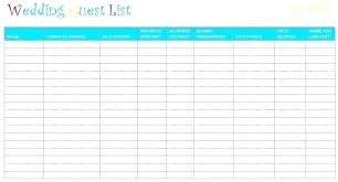 Free Wedding Guest List Template Excel