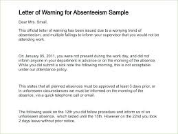 Warning Notice Format Employee Written Sample Letter For Absence ...