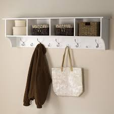 prepac furniture white 9 hook wall mounted coat rack