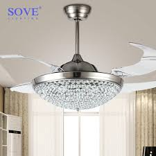 2018 42 inch modern led ceiling crystal chandelier fan bedroom living dining room folding fan lights with remote control 220 volt fan from i