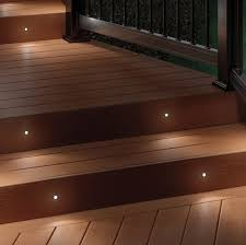 deck lighting. Deckorail Recessed LED Deck Lights Installed On Stairs At Night Lighting