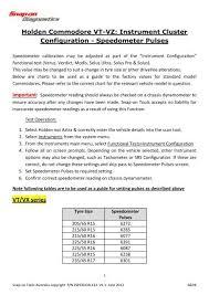 Holden Vt Vz Instrument Configuration Snap On Australia