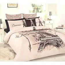 paris eiffel tower beige brown black double full quilt cover set 2