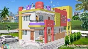 indian home design. 1600 sq-ft colorful north indian home design a