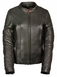 womens leather vented jacket w stretch back 0