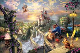 beauty and the beast falling in love painting thomas kinkade beauty and the beast falling
