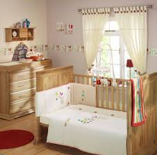 Vintage Style Decorating Baby Boy Room Ideas With Unfinished Wooden Crib  Also Chest Of Drawers Added Round Red Mat On Wood Floors Views