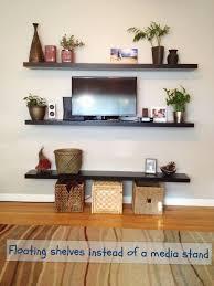 Dark Brown Floating Shelves Delectable Interior Floating Dark Brown Polished Wooden Wall Shelves On Grey