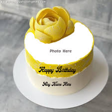 happy birthday yellow rose cake with