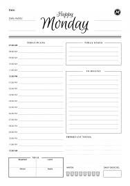 Day Planner Hourly Daily Planner Templates Printable