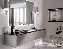 Bathrooms:Luxury Bathroom With Floating High End Bathroom Vanity And Large  Wall Mirror And Unique