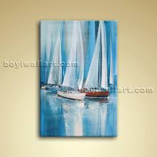 impressionist painting seascape oil canvas wall art sailing boat abstract