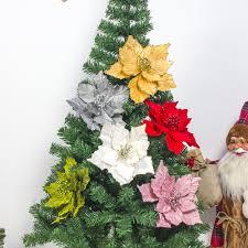 Großhandel 10 Stücke Große Künstliche Blumen Für Weihnachtsdekor Glitter Weihnachtsstern Gefälschte Blumen Diy Home Weihnachten Neujahr Dekoration