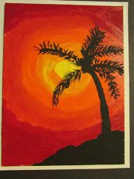 3rd grade palm tree silhouette painting on canvas board 9 x 12 lesson by art teacher susan joe