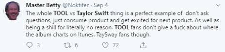 Taylor Swifts New Album Dethroned From 1 Spot By Tool