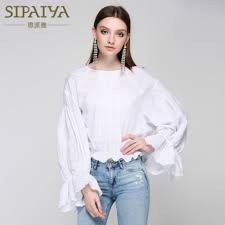 Designer Womens White Blouse Us 28 7 30 Off Runway Womens Blouses Loose Big Size Ruffles White Lace Designer Blouse 2017 Summer Female Full Lantern Sleeve Casual Tops New In