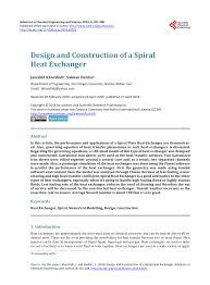 Research Paper On Heat Exchanger Design Pdf Design And Construction Of A Spiral Heat Exchanger