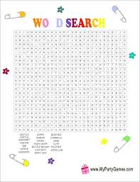 Word Search Template Printable Free Printable Baby Shower Word