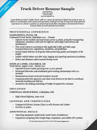 Resume Samples For Truck Drivers With An Objective Objective For