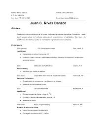 Resume Para Trabajo En Español