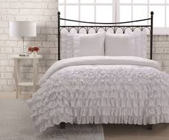 bedroom full size miley mini white ruffle bedding set with white bed lamp blue
