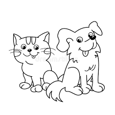 Small Picture Coloring Page Outline Of Cartoon Cat With Dog Pets Coloring Book