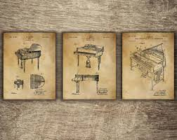 piano art print piano patent piano poster piano wall decor piano gift for musician grand piano set of 3 designs instant download on piano themed wall art with piano art print piano patent vintage piano piano wall art