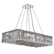 worldwide lighting cascade collection 16 light polished chrome crystal rectangle chandelier