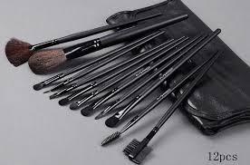 mac 15 pcs makeup brush set with leather bag