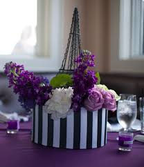 Purple Black Ivory Wedding Colors Parisian Themed Wedding
