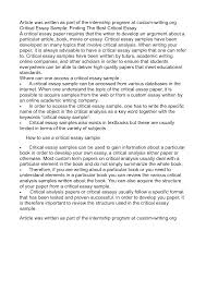 essay example of critical analysis essay critical writing examples essay examples of essay writing