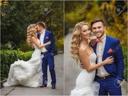 Mariage Collage La Mari E Et Le Mari Dans Le Parc En T