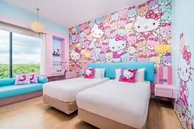 kitty room decor. Beautiful Room Hello Kitty Bedroom Decoration With Wall Accents For Room Decor 7