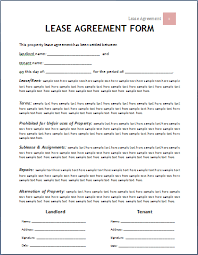 lease agreement sample lease agreements templates template of lease agreement lease